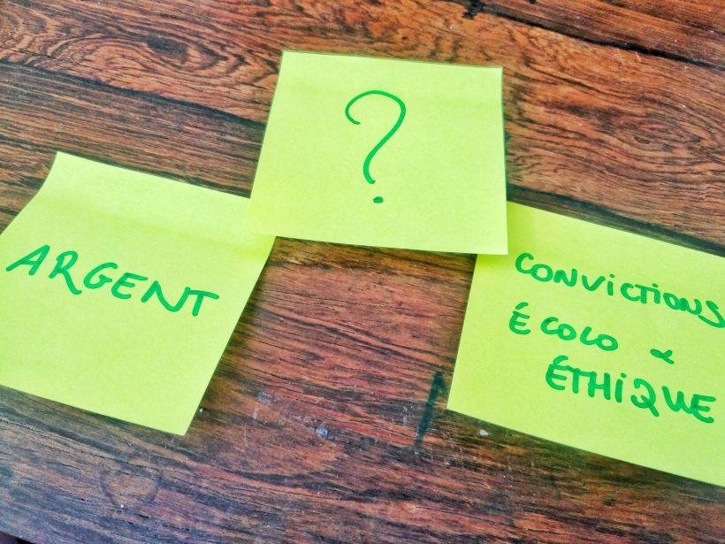 Post-it posant la question du choix entre argent et éthique / écologie