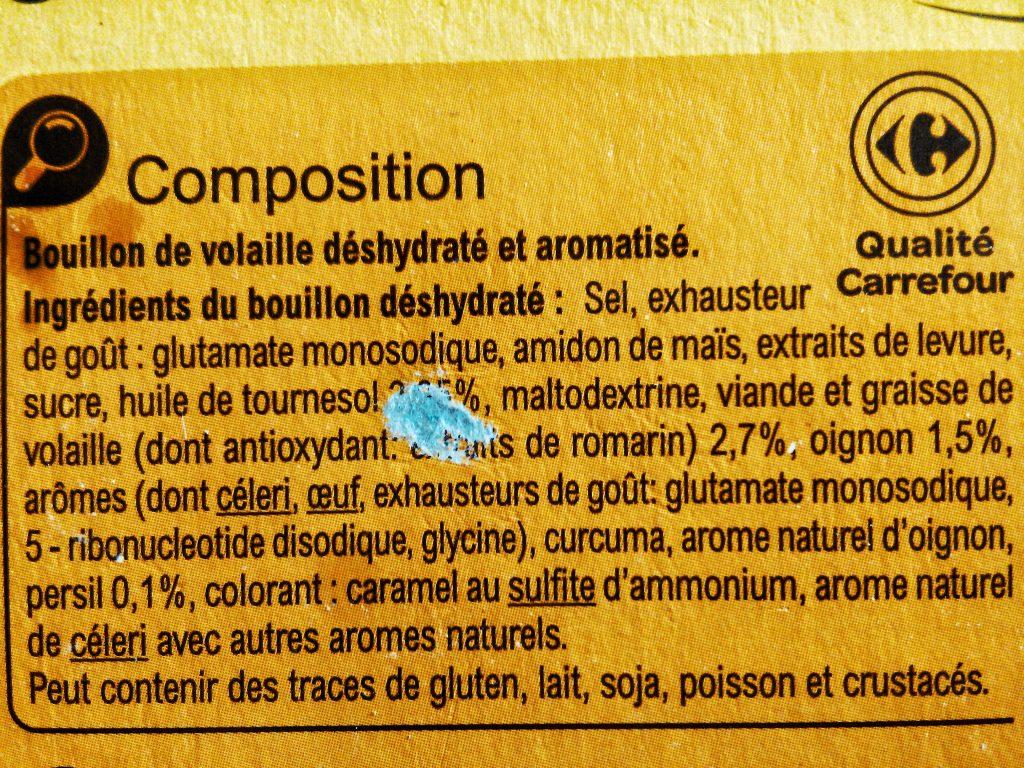 Ingérdients bouillon-cube conventionnel